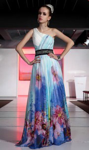 printing Beaded One Shoulder A-line Tencel Evening Dress
