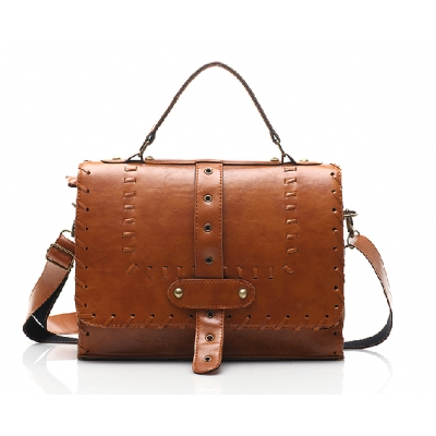Buckle Knitted Detail Flap Satchel