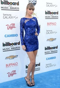 Taylor Swift's blue knee-length mini dress