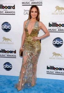 Jennifer Lopez's golden long dress