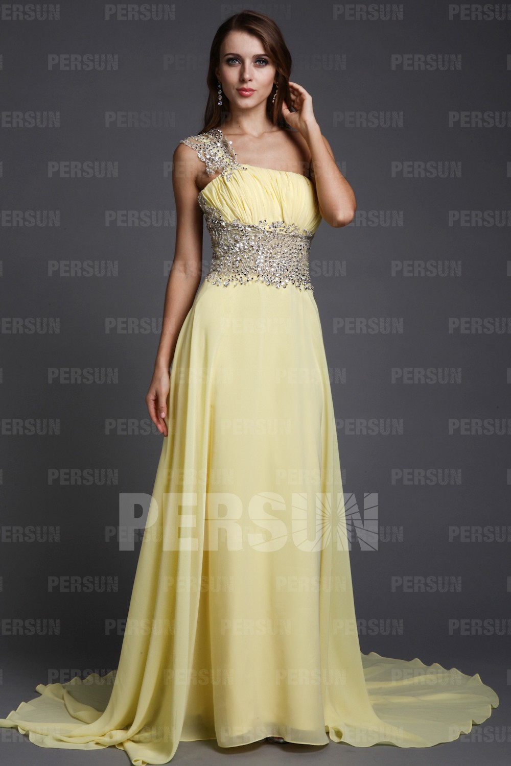Elegant A-line One Shoulder Empire Beading Chiffon Train Formal Dress