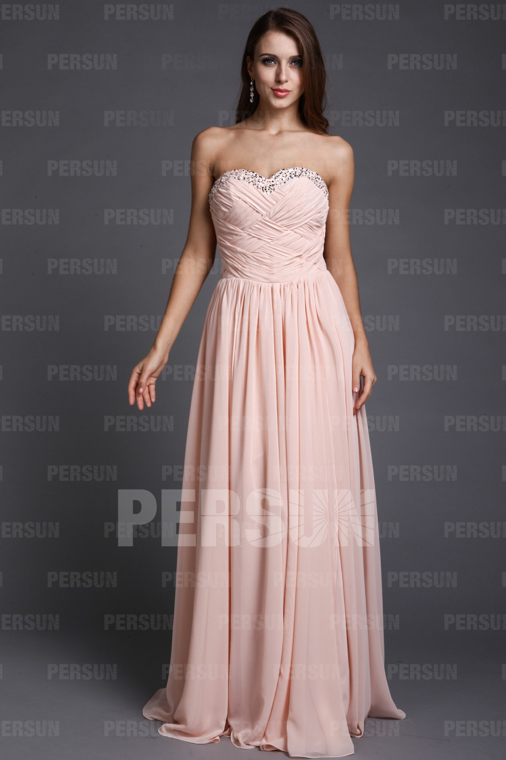 A-line Sweetheart Strapless Cross Ruched Chiffon Long Formal Dress