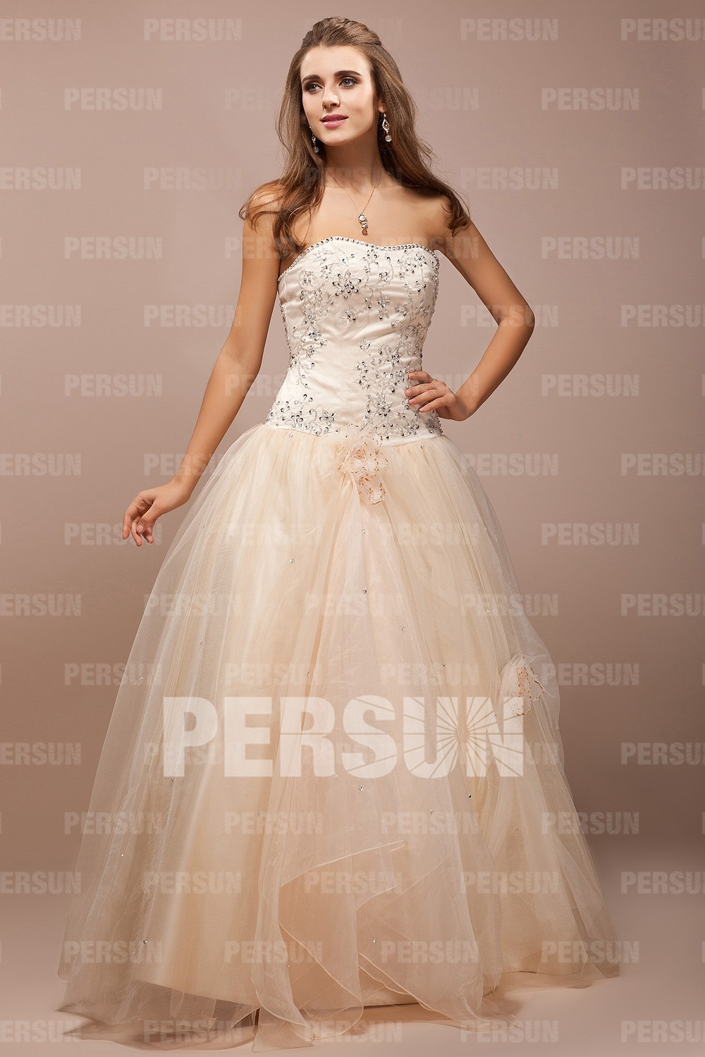 Beige Beaded Princess Tulle Formal Dress