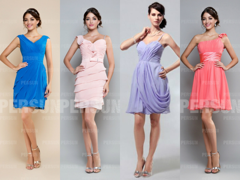 short pretty chiffon cocktail dresses