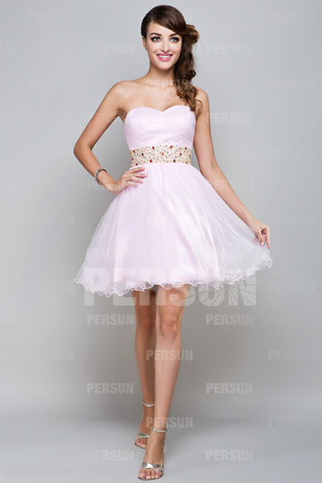 Cute Beaded Sweetheart Tulle A-line Short Formal Cocktail Dress