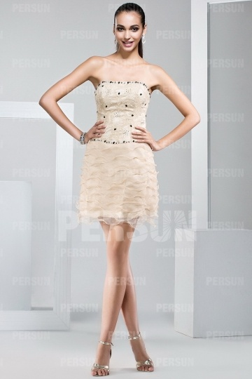 short formal dress with Lace covered bodice