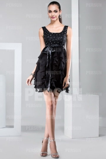Short formal dress with ruffle skirt and sash in satin