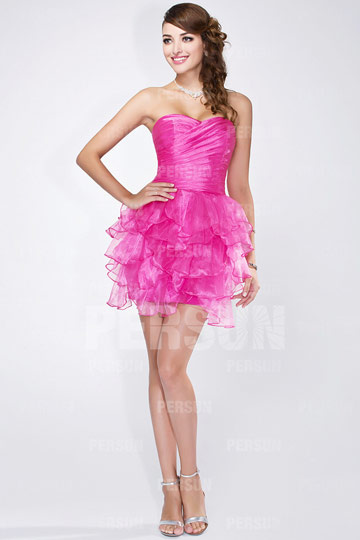 Short Cocktail Formal Dress in fuchsia tone with ruffle details