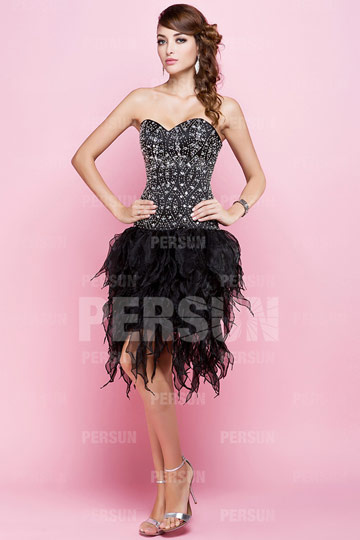 Short formal dress with beaded bodice and tulle ruffle skirt