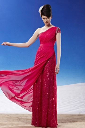 Simple One Shoulder Beading Ruched Chiffon Evening Dress