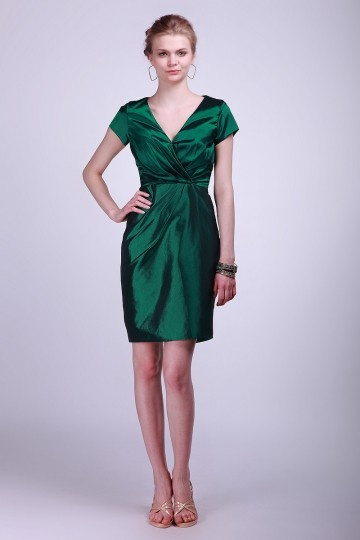 V-neck Cap Sleeve Taffeta Column Green Bridesmaid Formal Dress