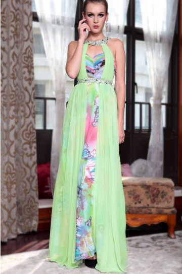 Chiffon Collar Style Neck Embroidery Colourful Beading Ruching A-line Long Evening Dress
