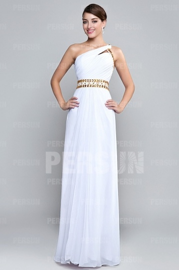 Empire Chiffon One shoulder White Formal Dress