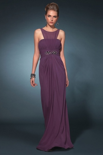 eaded Draping Round Neck Chiffon Sheath Formal Dress