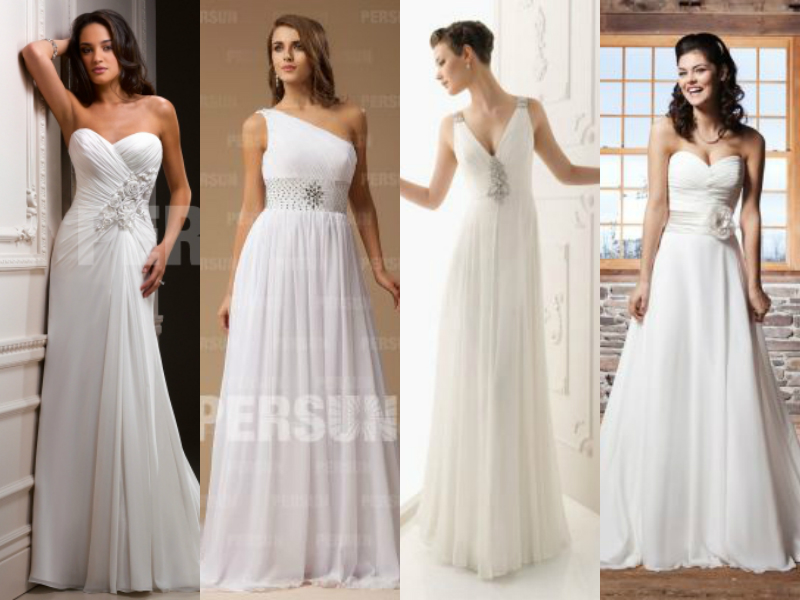 chiffon aline wedding dresses