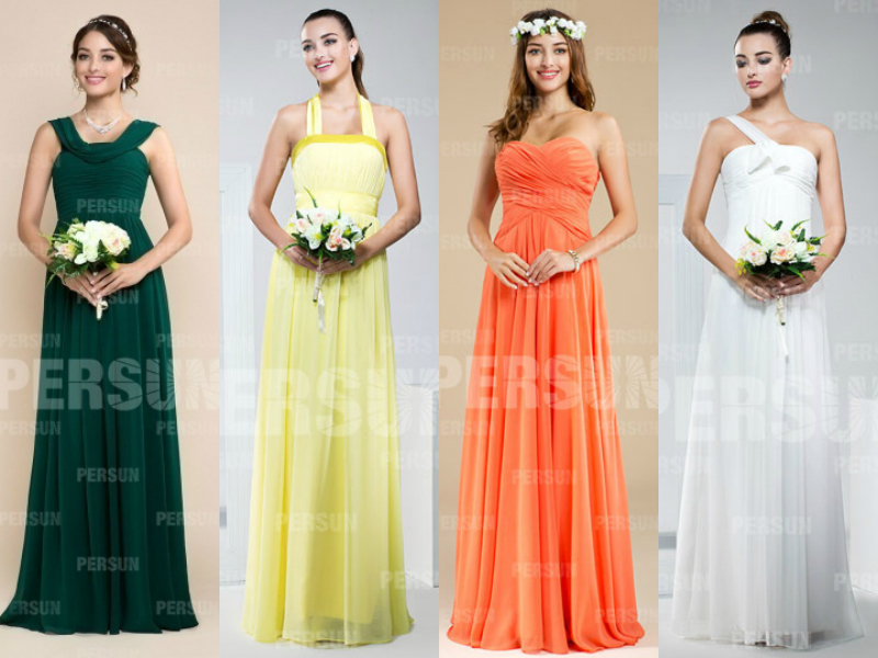 long chiffon elegant bridesmaid dresses