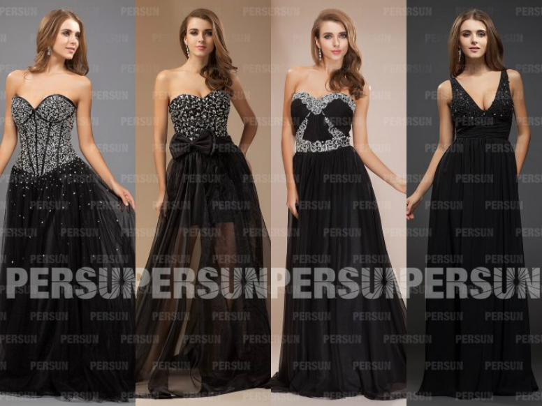pretty black formal evening dresses