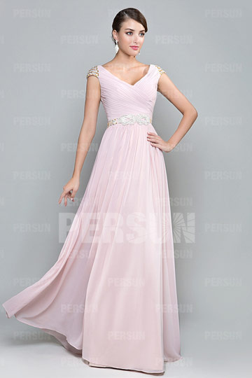 pink chiffon formal dress