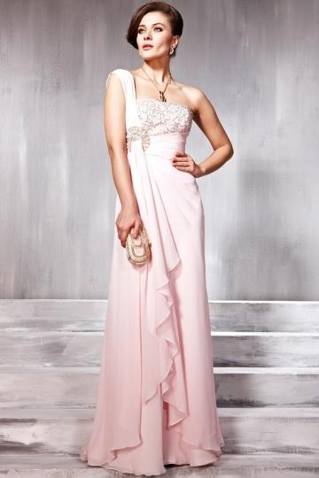 pink one shoulder formal dress