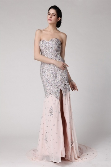 pink sequined formal dress