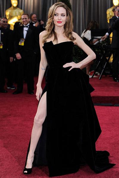 Angelina Jolie's famous black leg skirt
