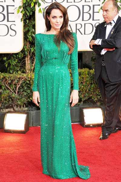 Angelina Jolie's green sequins dress