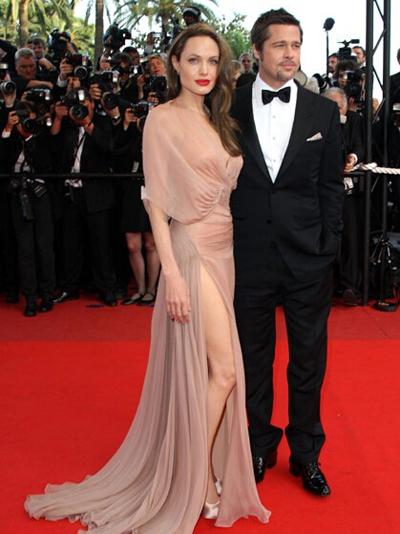 Angelina Jolie's nude long dress