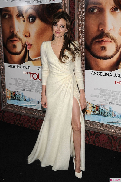 Angelina Jolie's white v-neck dress