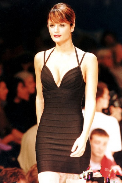 Helena Christensen black dress