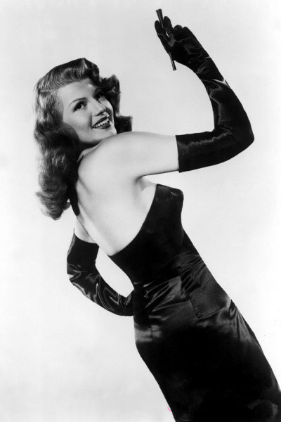 strapless backless long black dress for Rita Hayworth