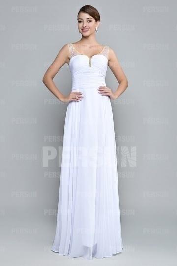 beading straps white chiffon long formal dress