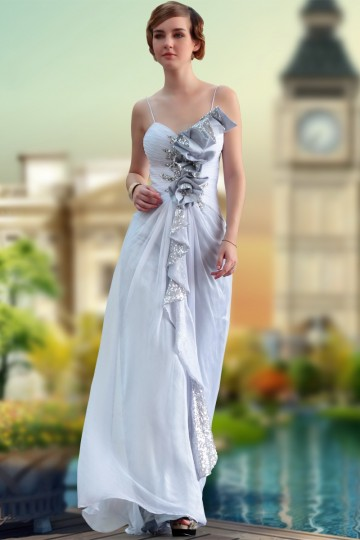 white chiffon a-line dress
