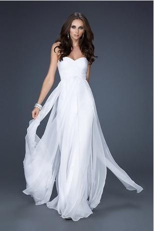 white strapless mermaid long dress
