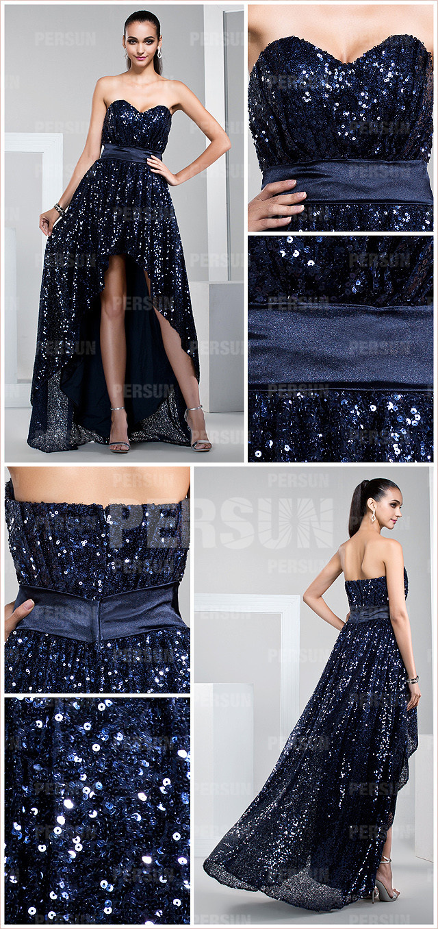high low sequined cocktail dress
