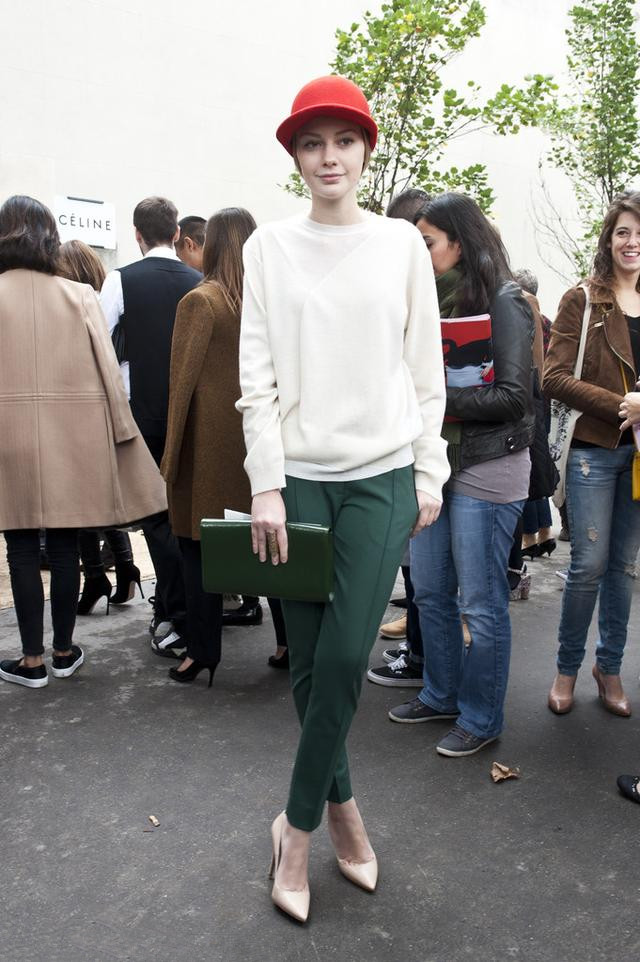 the fashion women wear white sweater and green pants