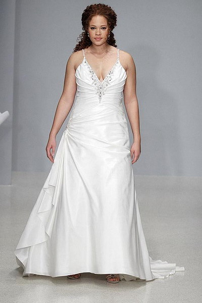 satin v neck spaghetti strap wedding dress