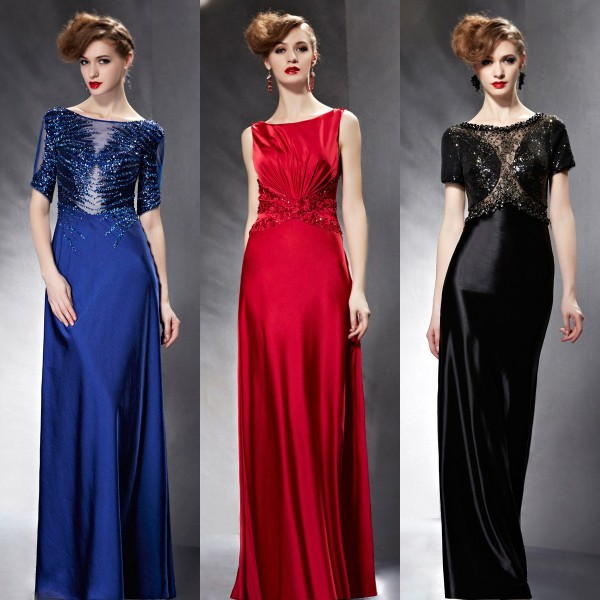 long satin sequins evening dresses
