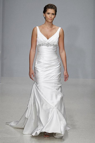 v neck satin wedding dress