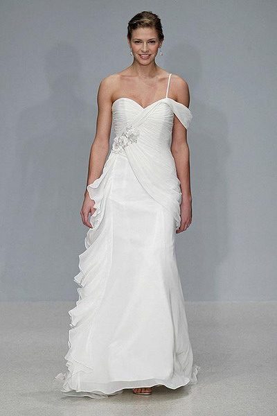 unique one shoulder column wedding dress