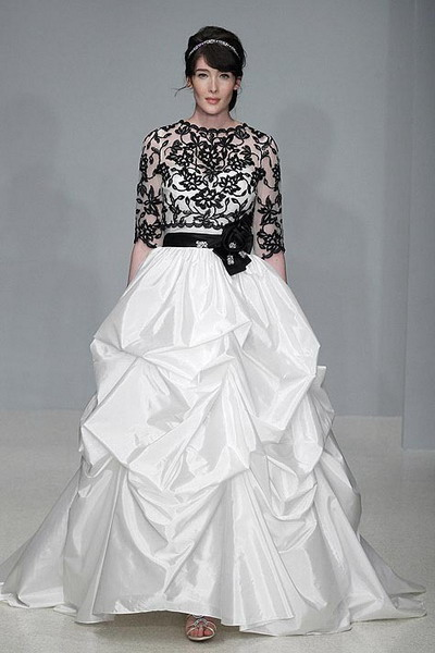 satin folds wedding dress with black lace sleeves