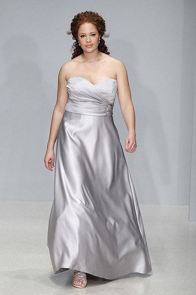 strapless grey satin wedding dress