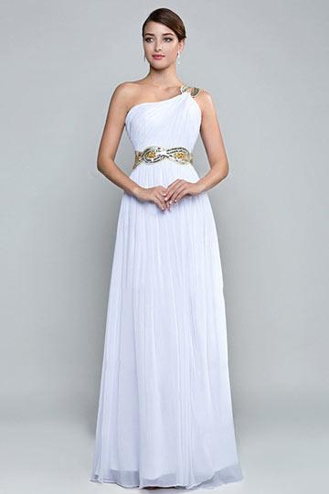 A Line One Shoulder Beaded Slit White Formal Dress