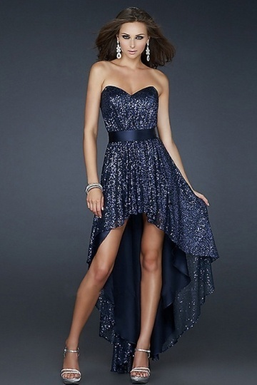 Sexy Dark Navy Strapless Backless Sequins Low High Empire Prom Gown Homecoming Dress