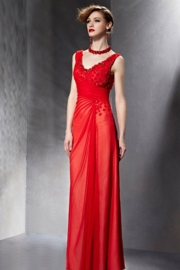 Elegant Appliques Ruched Red Chiffon Long Formal Dress