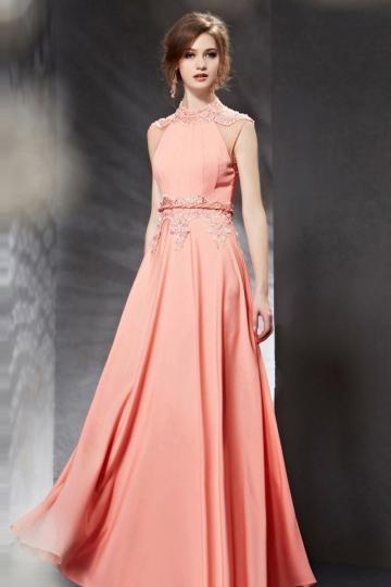 Chiffon Pink Modern Floor Length A line Appliques Evening Dress