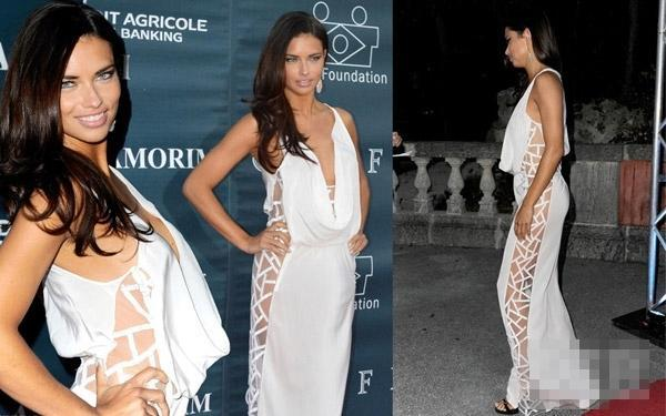 Adriana Lima's white side expose deep v neck evening dress