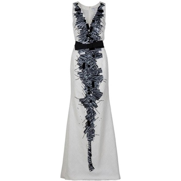 Carolina Herrera white v neck long evening dress