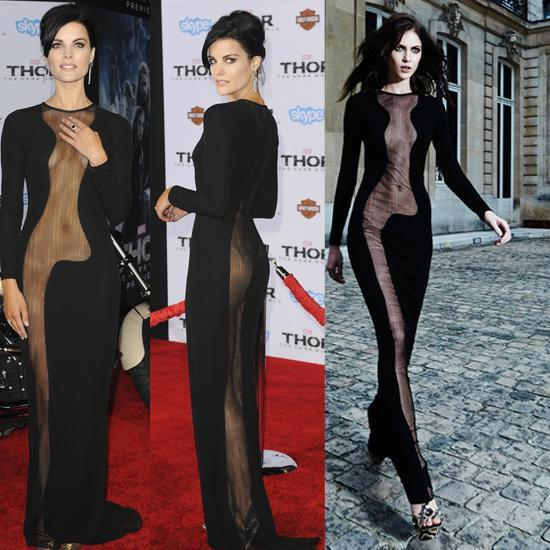 Jaimie Alexander's black transparent long black dress