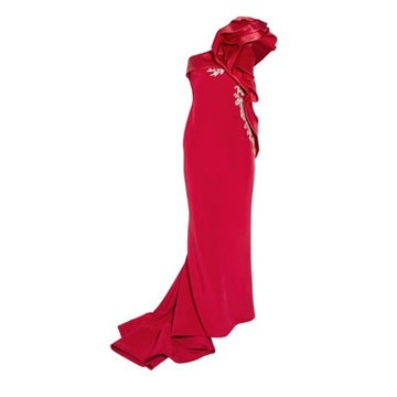 Marchesa one shoulder red silk evening dress