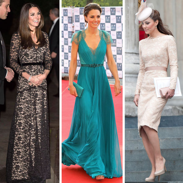 Princess Kate's evening dress with lace details